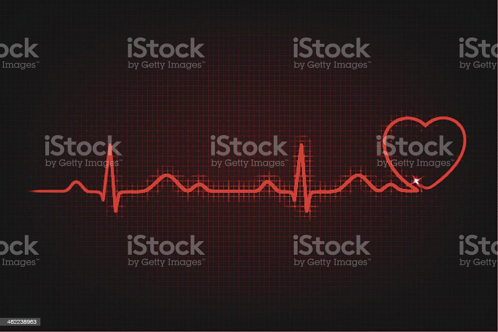 Cardiogram of love and health vector art illustration
