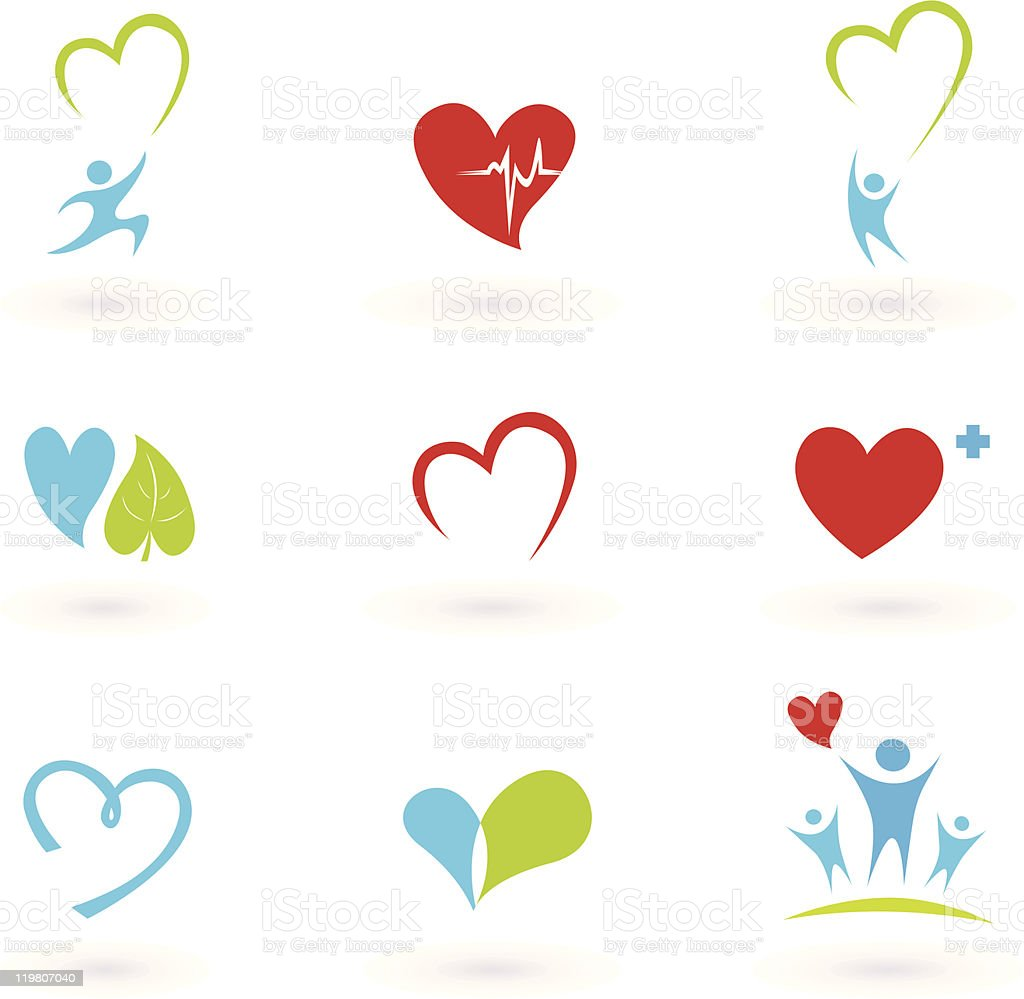 Cardiology, heart and people icon collection vector art illustration