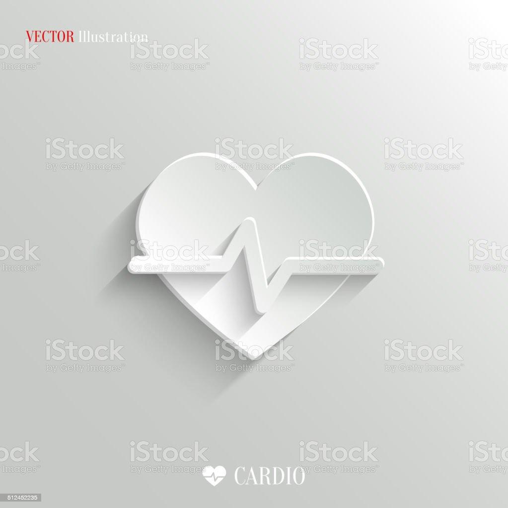 Cardiology icon - vector white app button vector art illustration