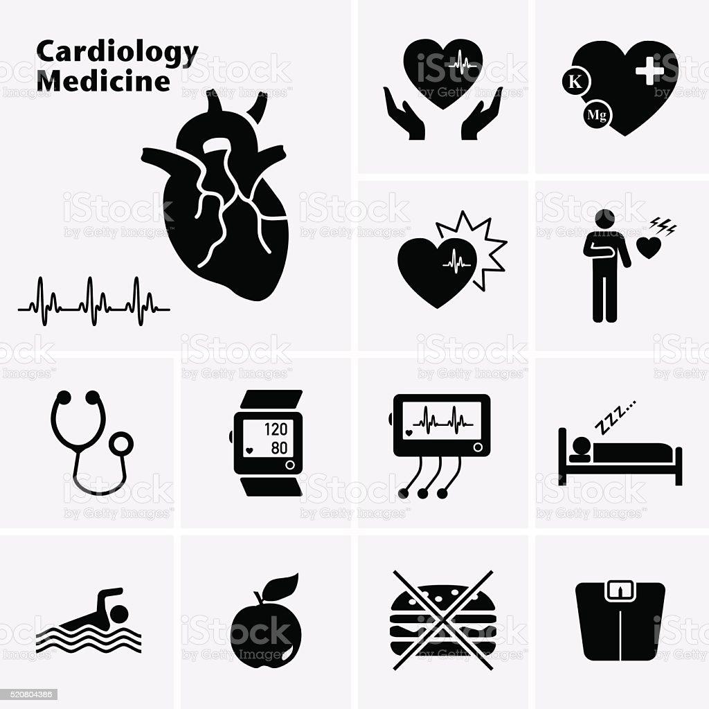 Cardiology Medicine Icons. Cardiovascular Diseases. vector art illustration