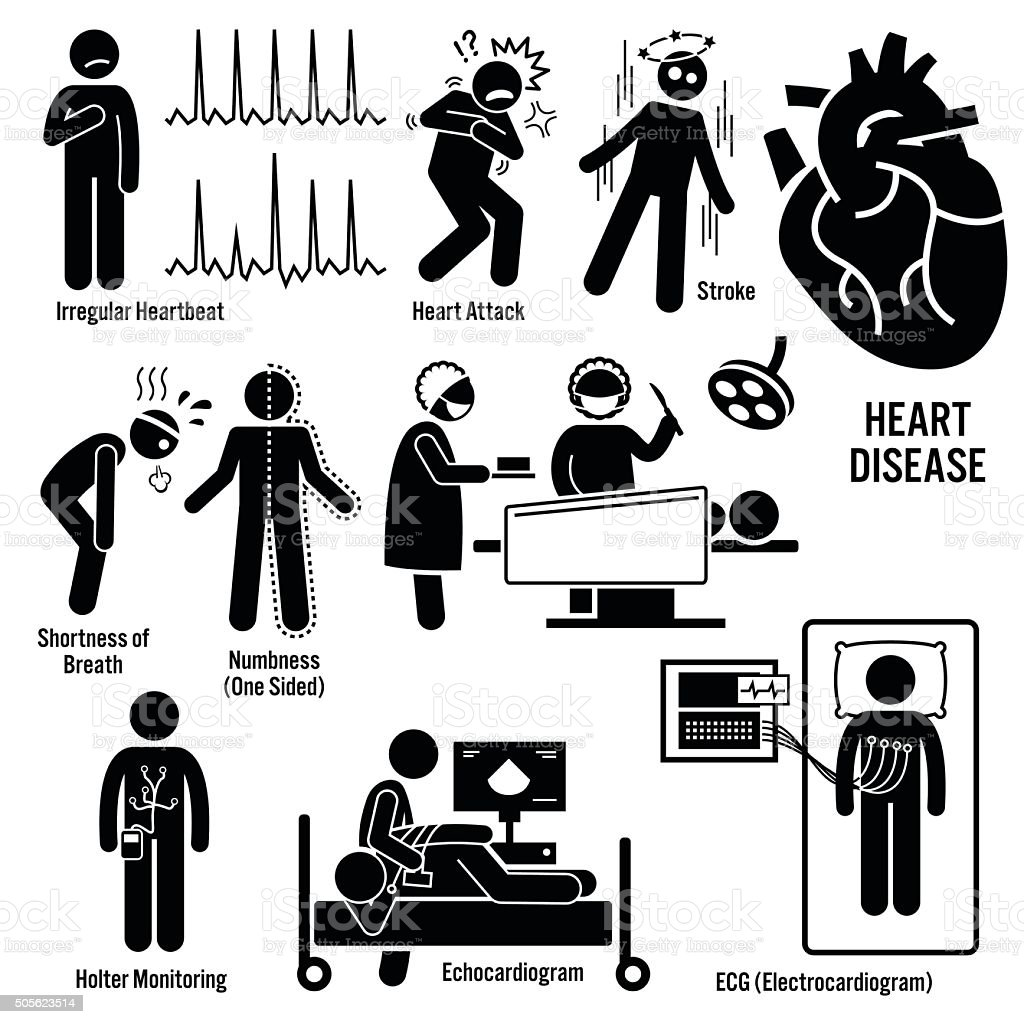 Cardiovascular Disease Heart Attack Coronary Artery Illness Illustrations vector art illustration