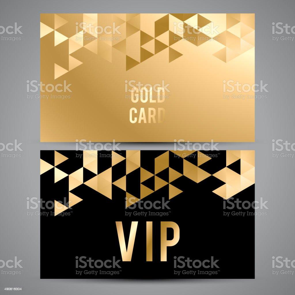 VIP cards. Black and golden design. Triangle decorative patterns vector art illustration
