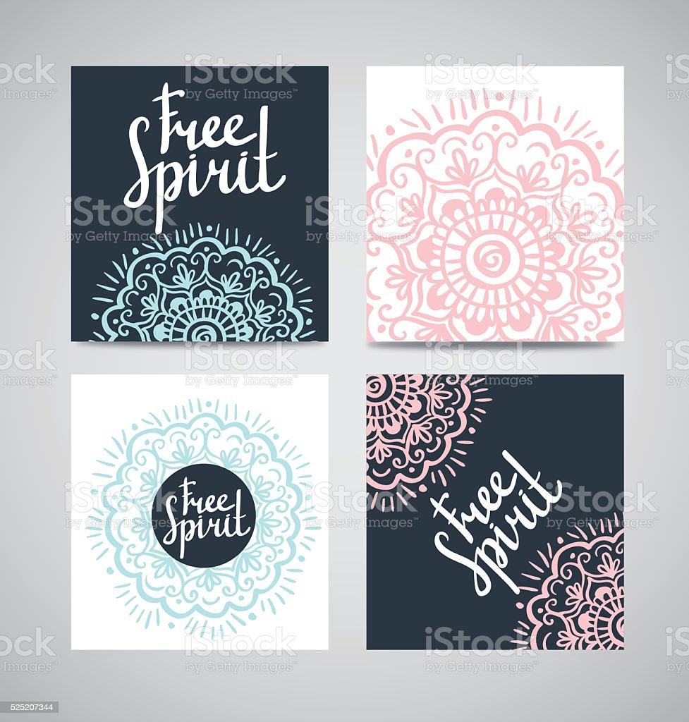 Cards collection, floral pattern. Vector background with lettering . vector art illustration