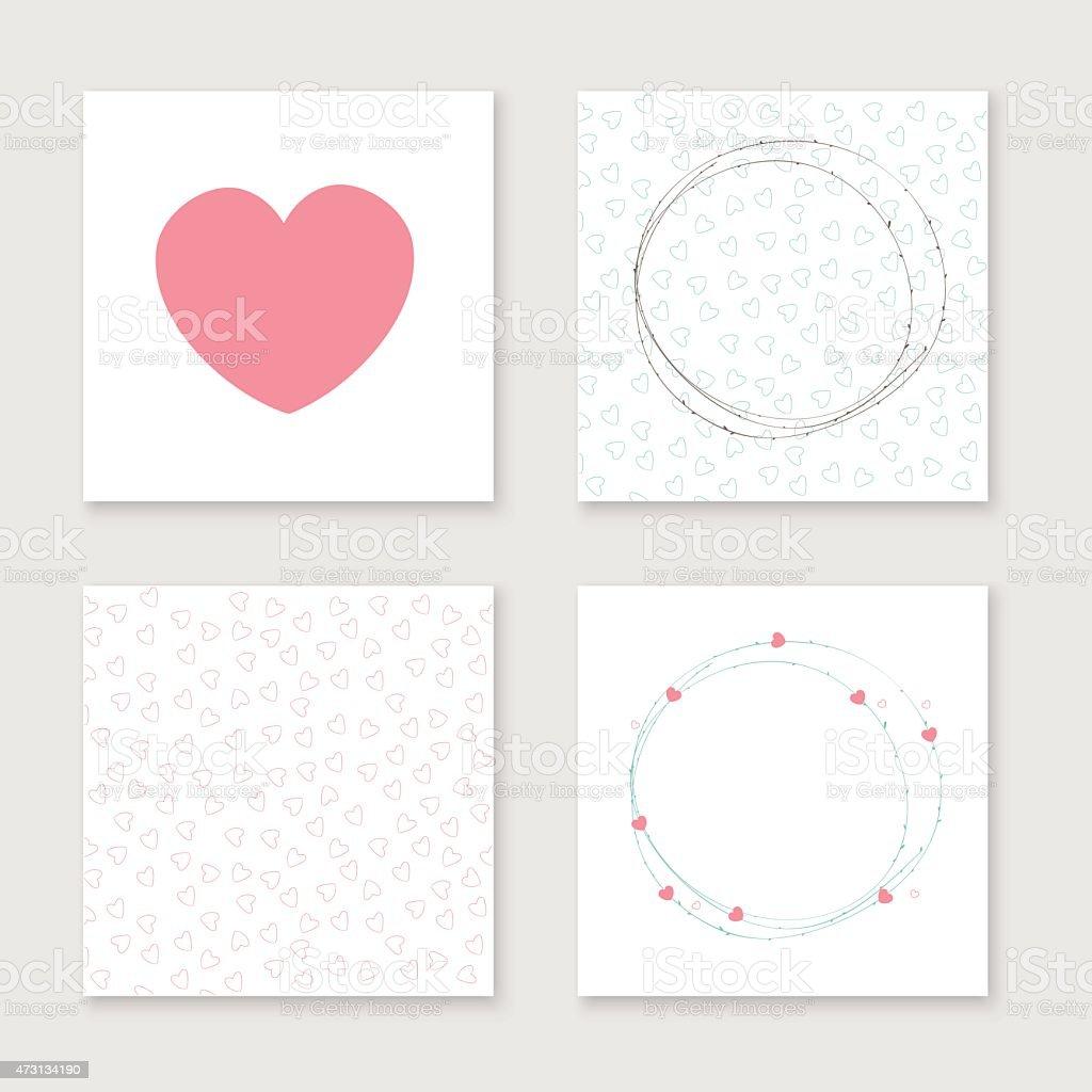 Karten Kollektion Für Valentinstag, Geburtstag, Speichern Sie Das Datum Inv  Lizenzfreies Vektor Illustration