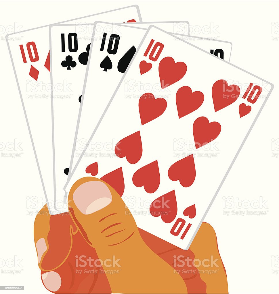 cards in the hand royalty-free stock vector art