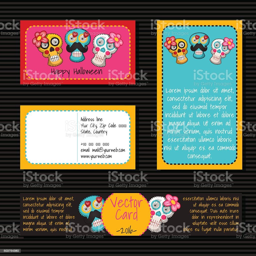 Cards of different shape and size with skulls vector art illustration