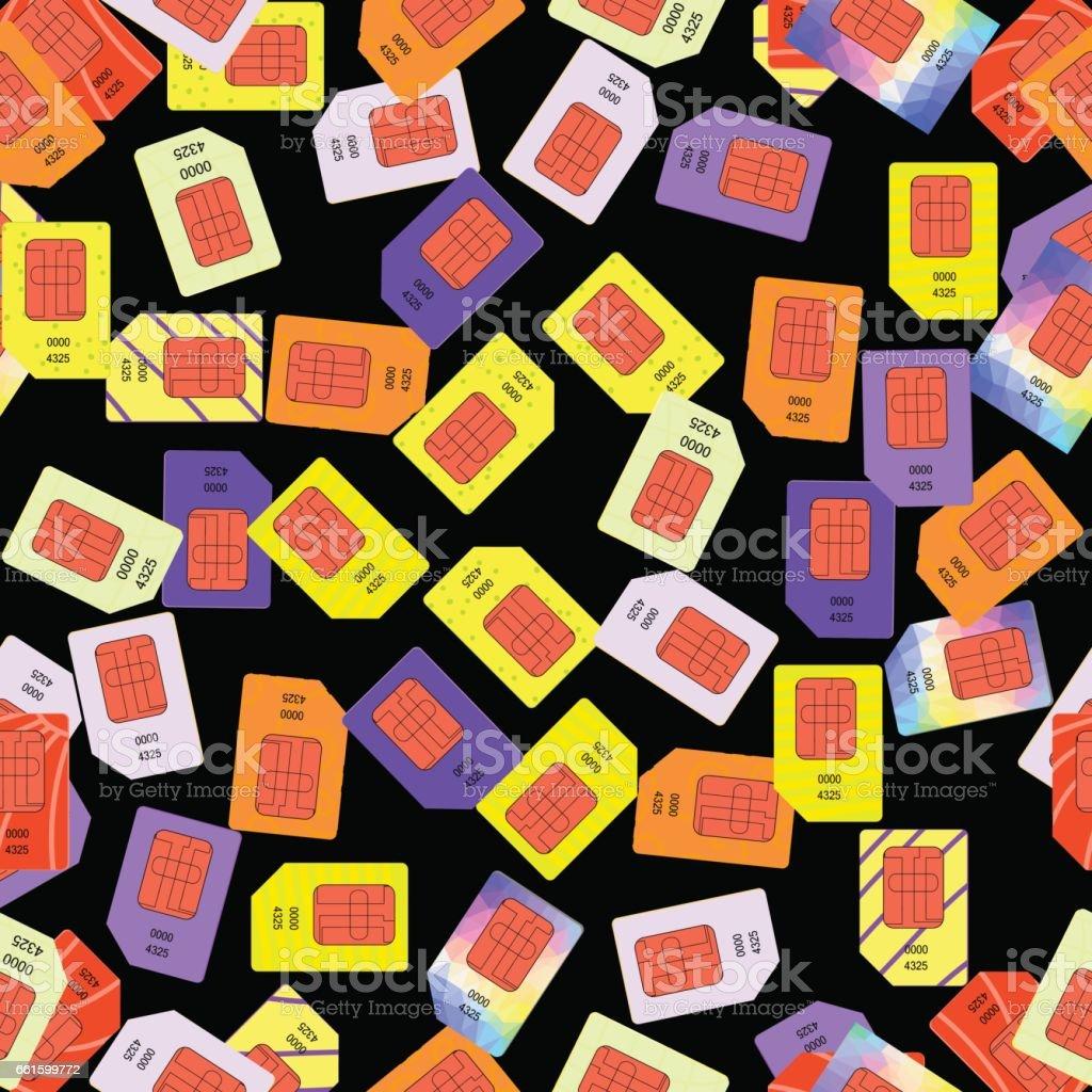 SIM Cards Seamless Pattern vector art illustration