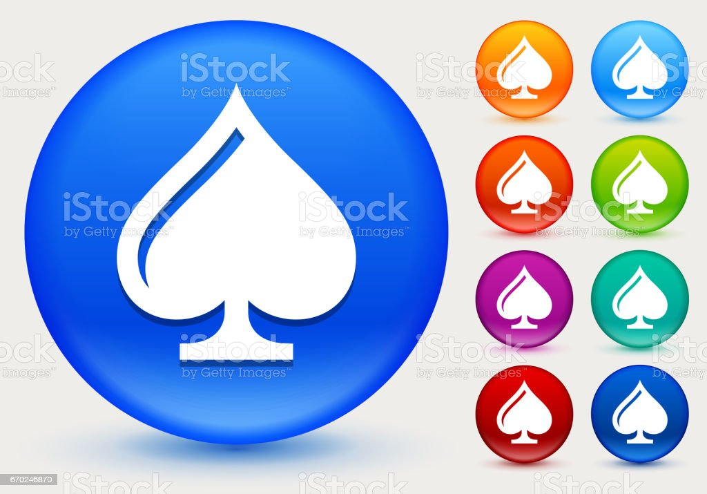 Cards Spades Icon on Shiny Color Circle Buttons vector art illustration