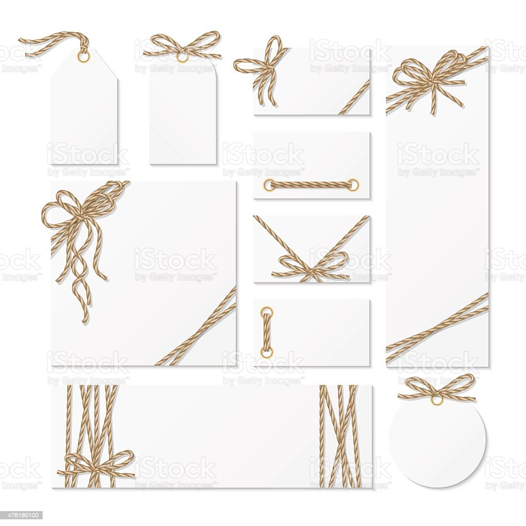 Cards, tags and labels with rope bows ribbons vector art illustration