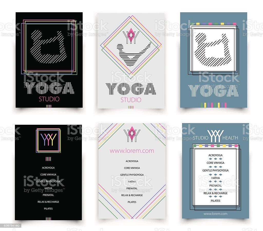cards template for yoga studio,  vector illustration vector art illustration