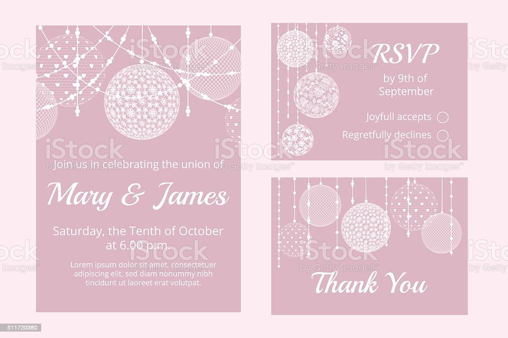 cards with lace baubles vector art illustration