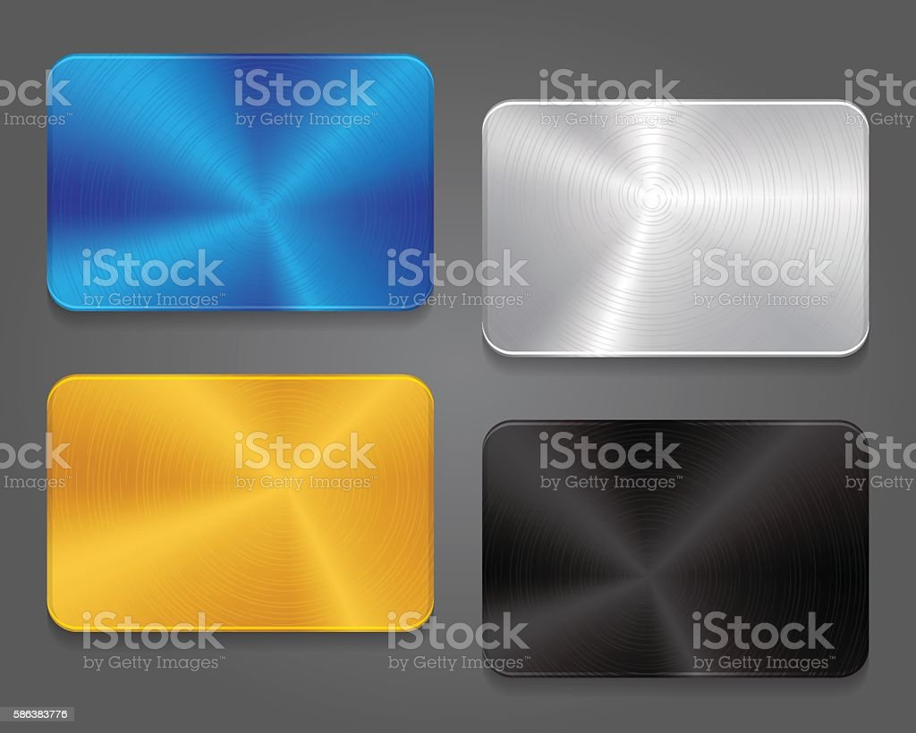 Cards with metal background. vector art illustration
