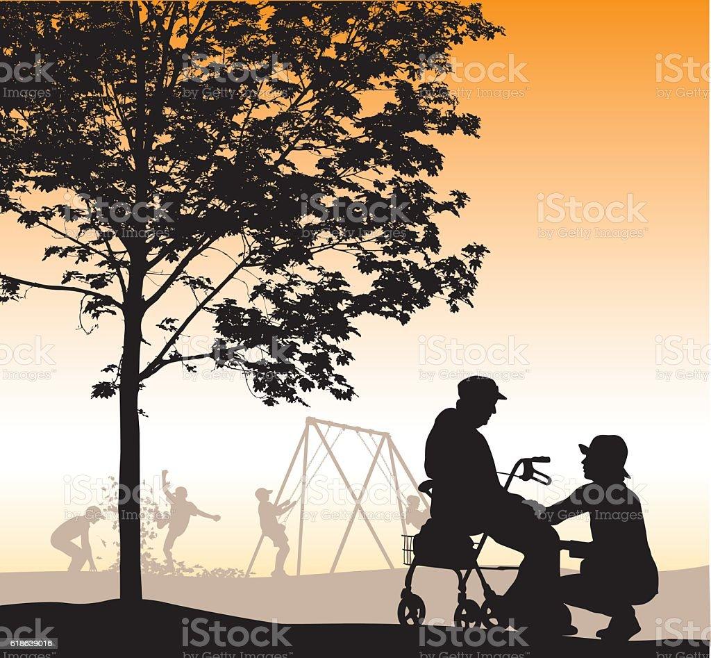 Care Taker In The Park vector art illustration