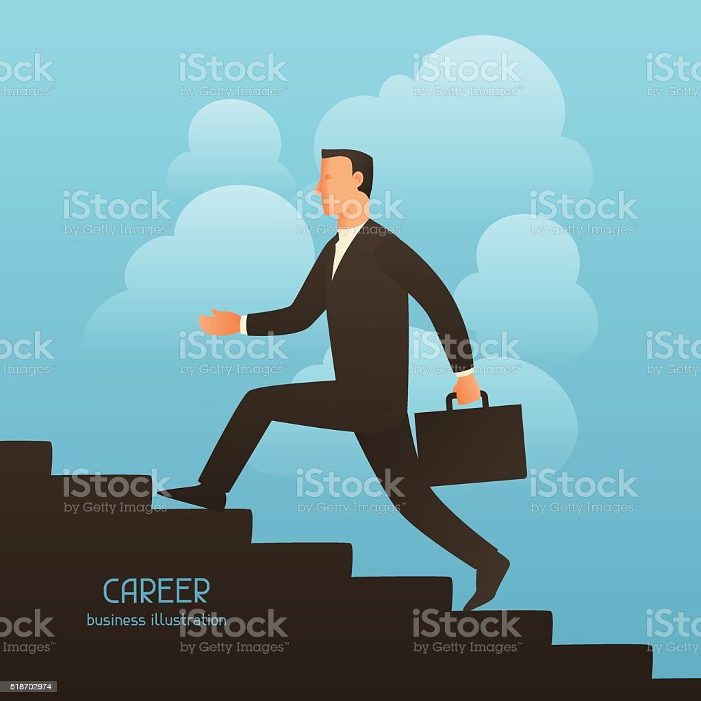 Career business conceptual illustration with businessman going upstairs. Image for vector art illustration