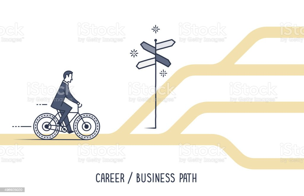 Career & Business Path vector art illustration