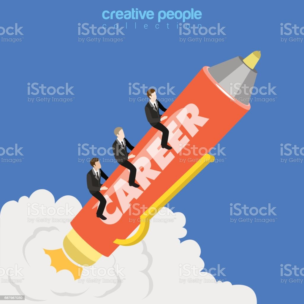 Career growth flat 3d isometry isometric business concept web vector illustration. Businessmen ride pen rocket with career word. Creative people collection. vector art illustration