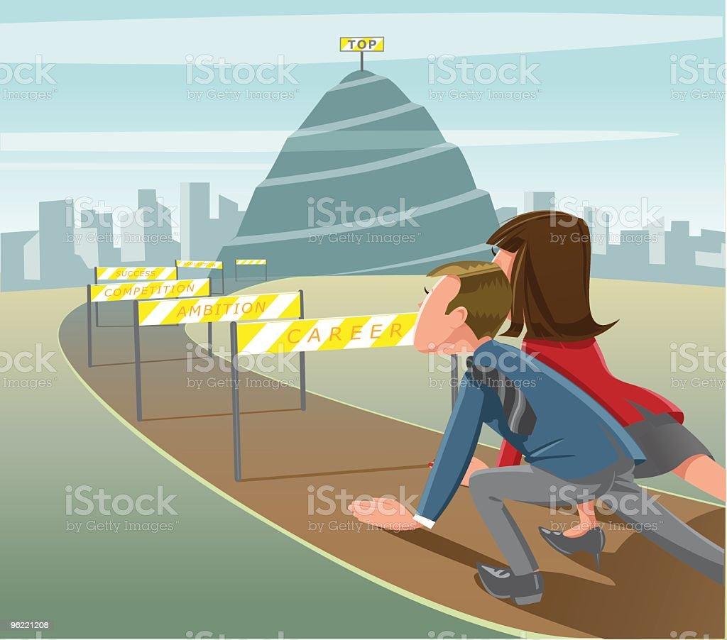 Career hurdles vector art illustration