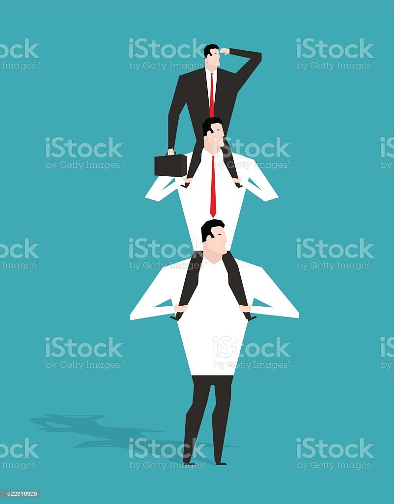 Career ladder. Boss sitting on shoulders of deputy. Head sits vector art illustration