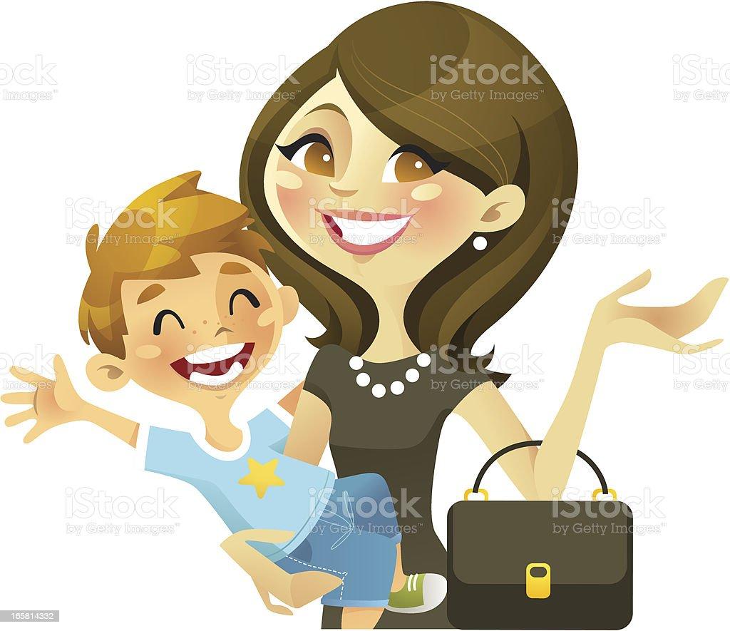 Career Mom (Brunette) vector art illustration