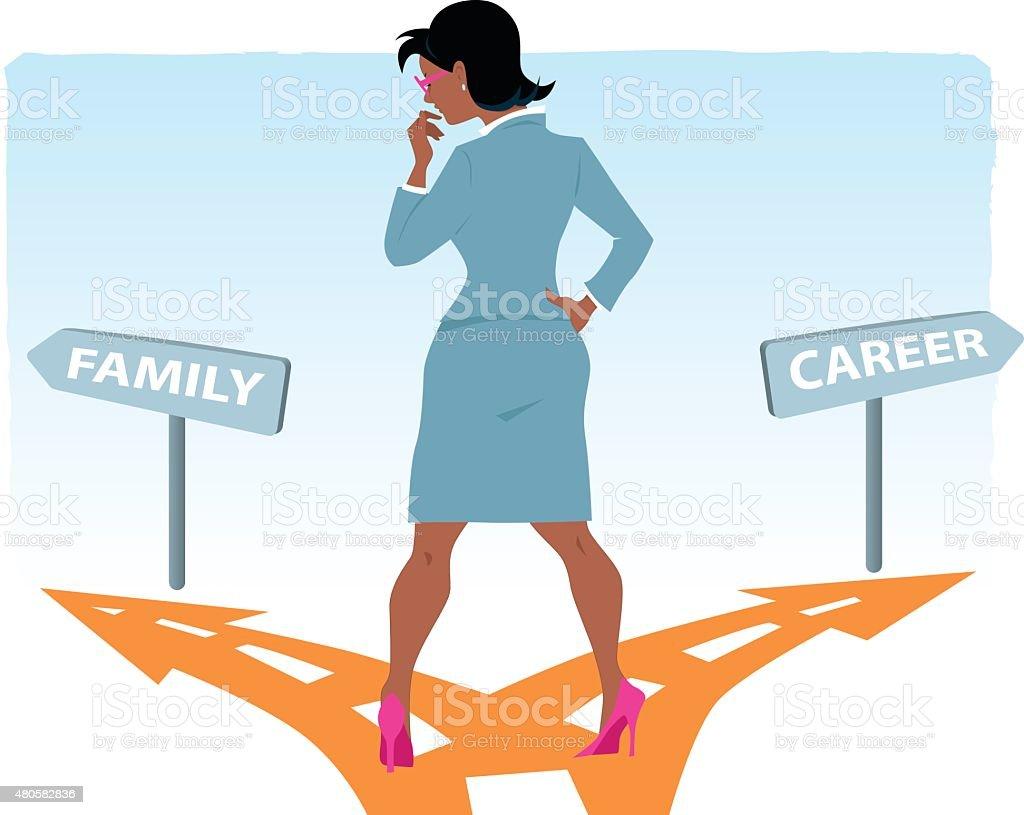 Career or family vector art illustration