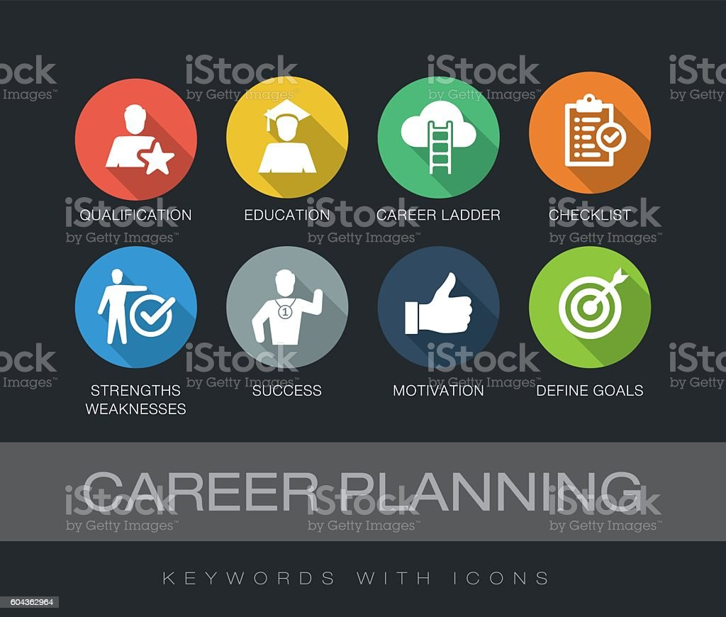 Career Planning keywords with icons vector art illustration