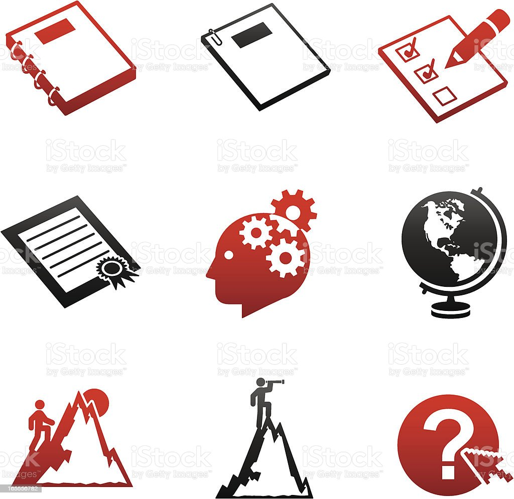 Careers & Documents Icons - Red and Black Series royalty-free stock vector art