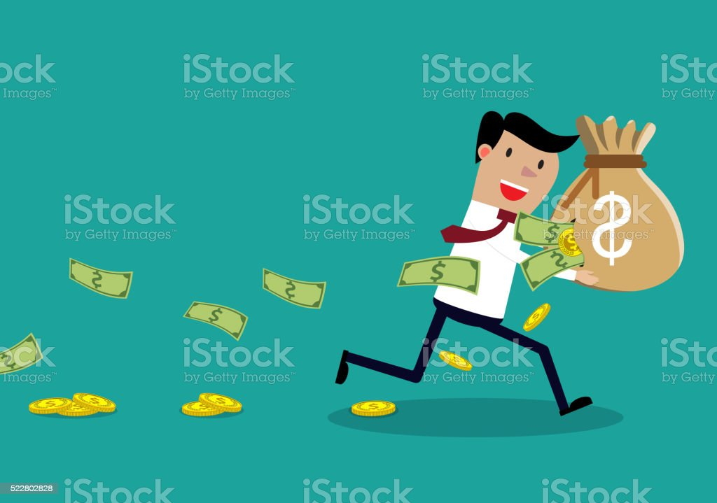 Careless Businessman Carrying a Torn Money Bag. vector art illustration