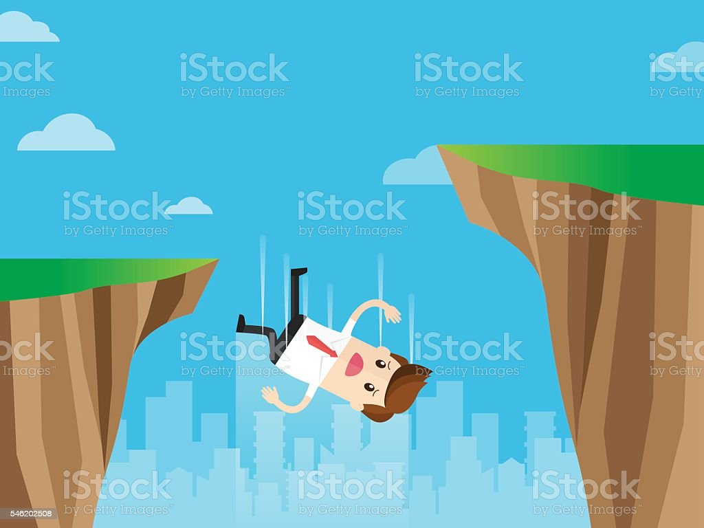 careless businessman falling from gap of cliff vector art illustration