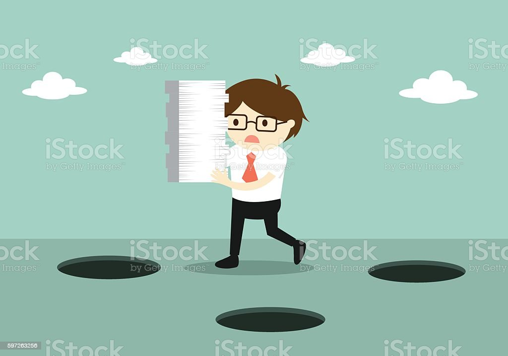 Careless businessman is holding a lot of paper while walking. vector art illustration