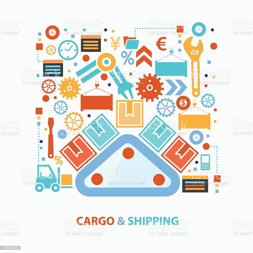 Cargo and shipping concept design,clean vector vector art illustration