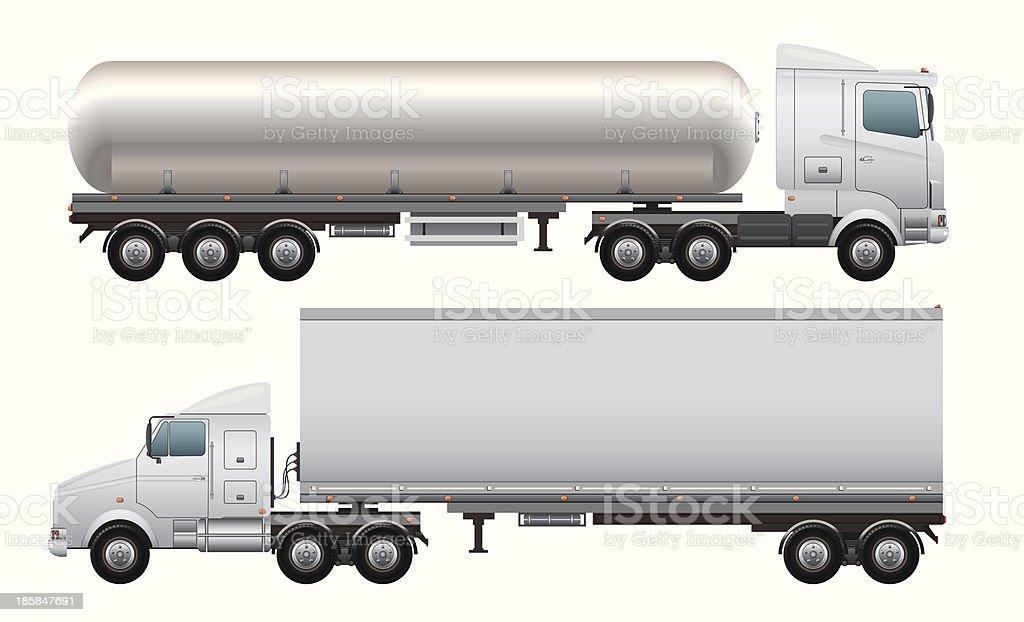 Cargo and tanker truck vector art illustration