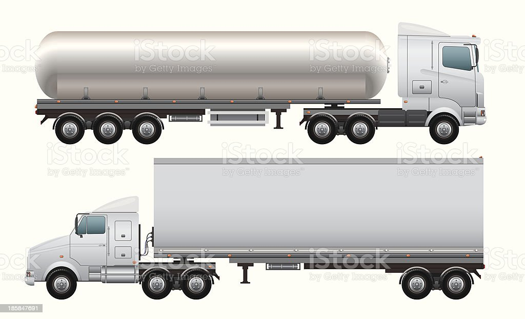 Cargo and tanker truck vector art illustration