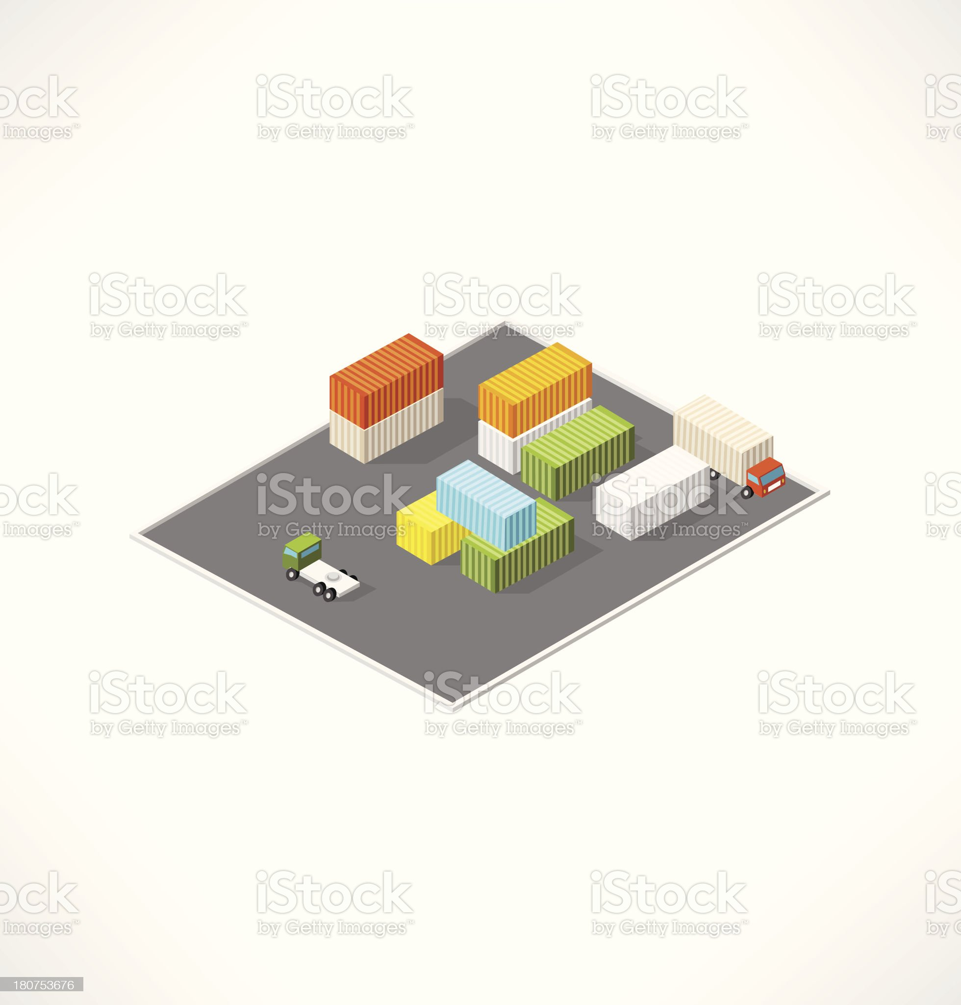 Cargo area with containers. Isometric building. royalty-free stock vector art