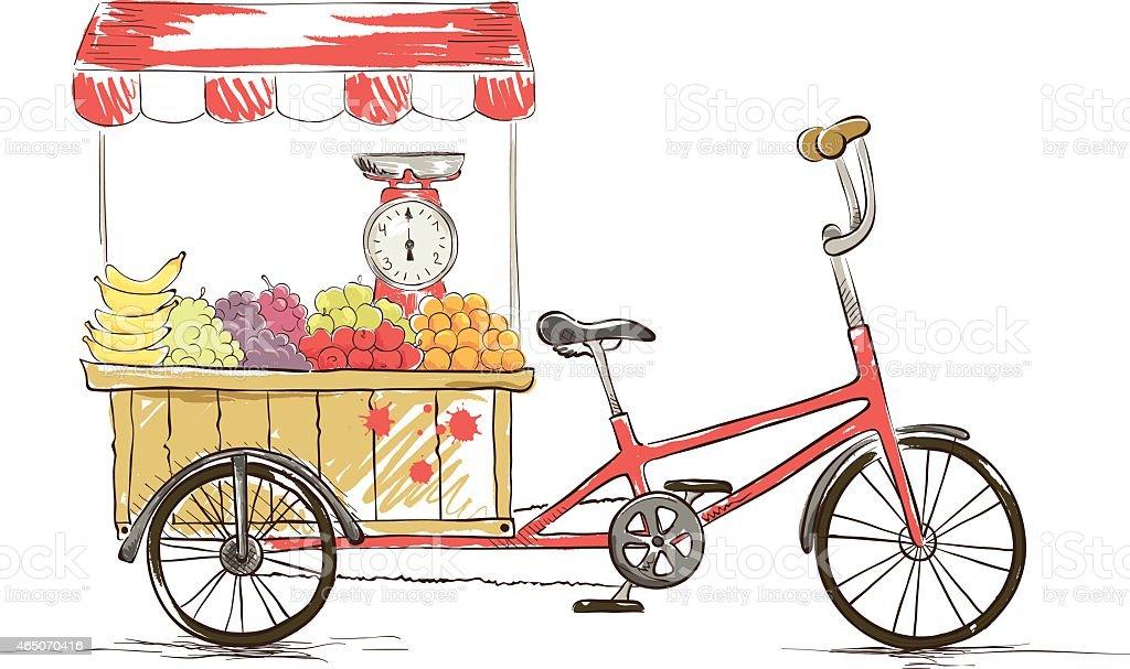 Cargo Bike - Fruit Shop, Vector illustration. vector art illustration