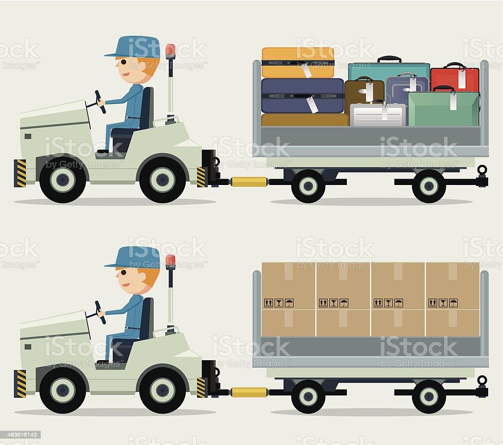 Cargo carts in airport vector art illustration