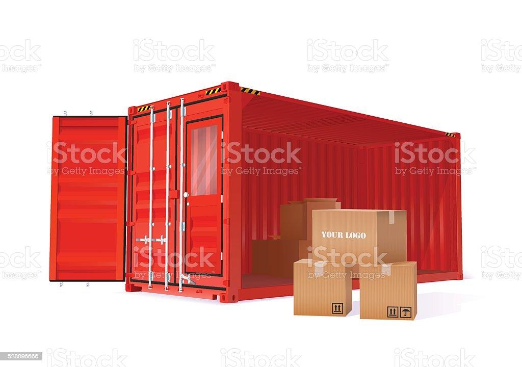Cargo Container Illustration vector art illustration