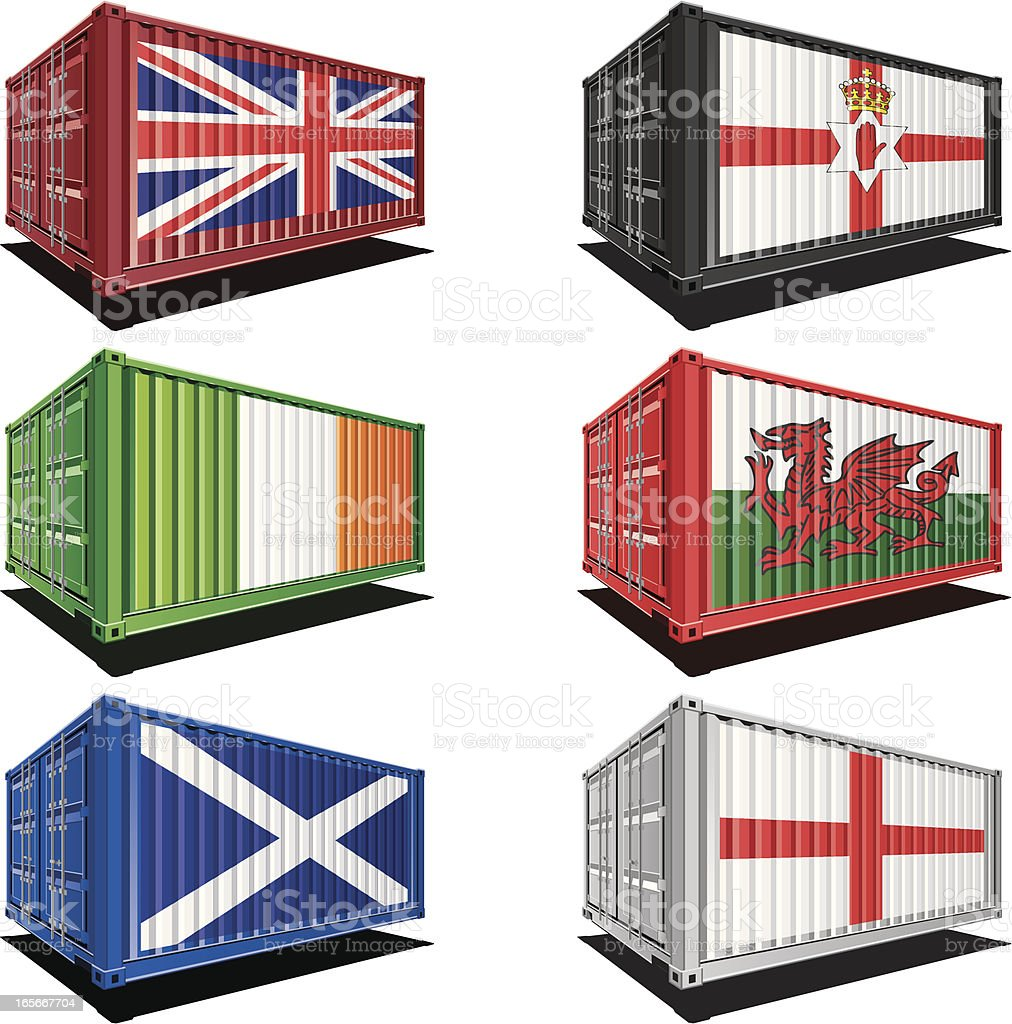 Cargo containers with flag designs royalty-free stock vector art