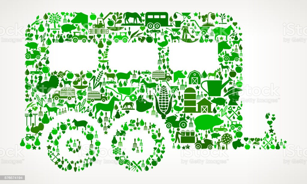 Cargo Farming and Agriculture Green Icon Pattern vector art illustration