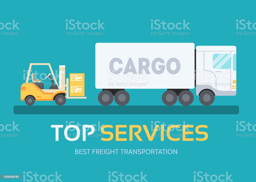 Cargo freight in flat.  Logistic equipment and delivery service vector art illustration