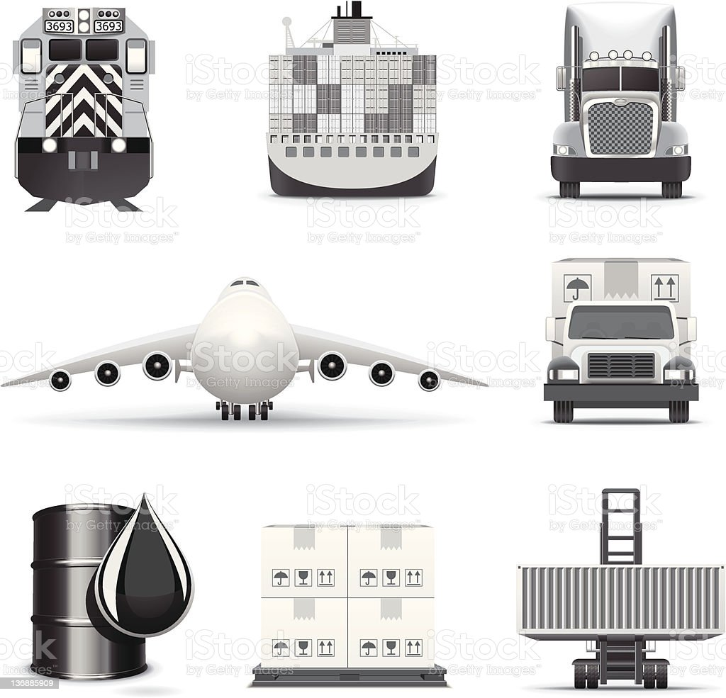 Cargo icons | B&W series royalty-free stock vector art