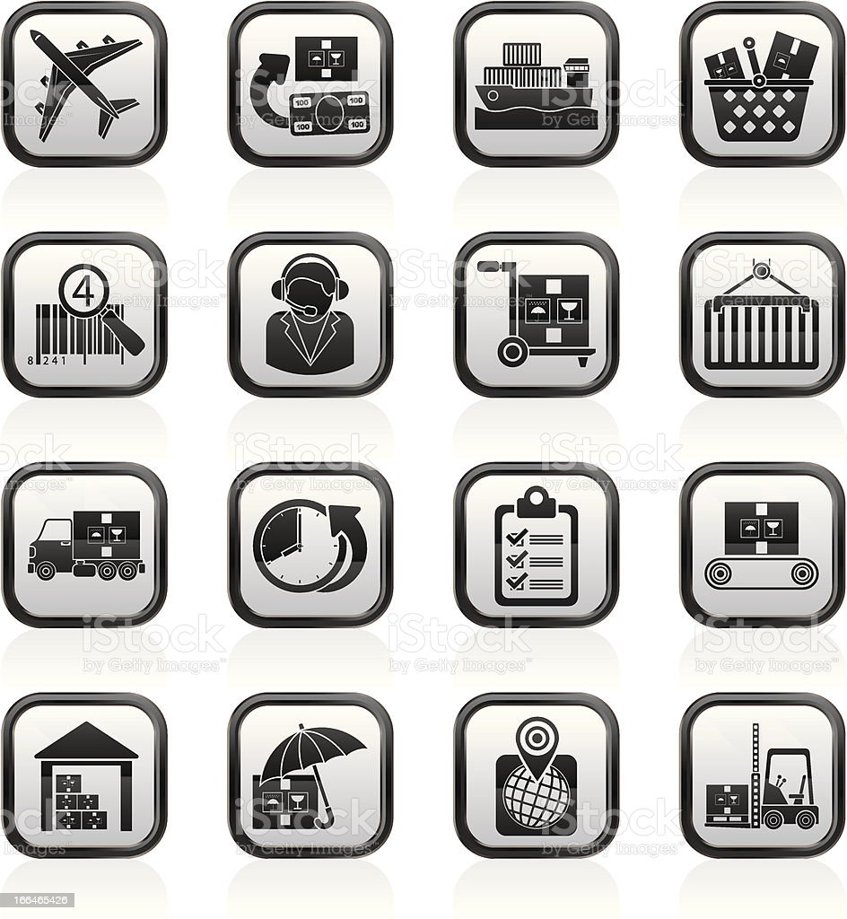 Cargo, logistic and shipping icons royalty-free stock vector art