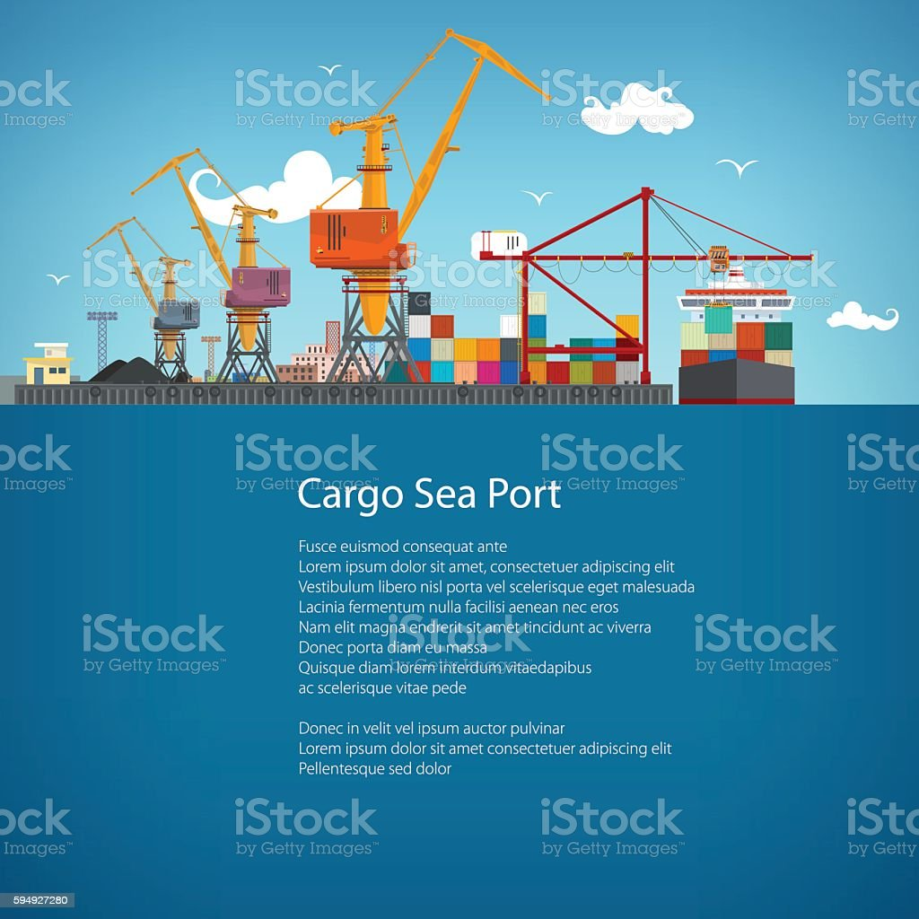 Cargo Seaport Poster Brochure vector art illustration