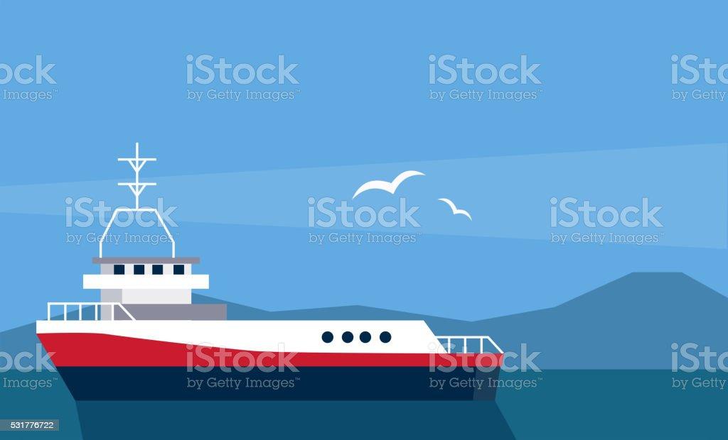 Cargo Ship At The Sea vector art illustration