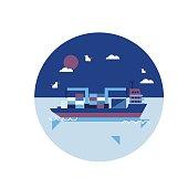cargo ship flat illustration design