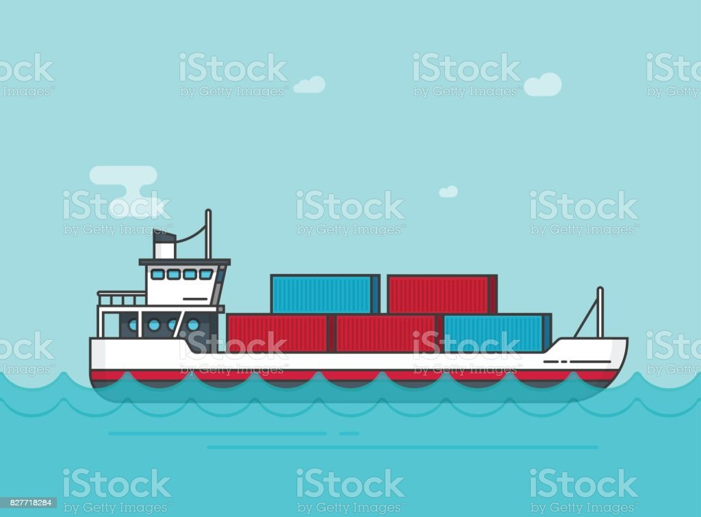 Cargo ship floating on ocean water vector illustration, flat cartoon big shipping freighter boat on sear waves carrying cargo containers line outline, large vessel vector art illustration