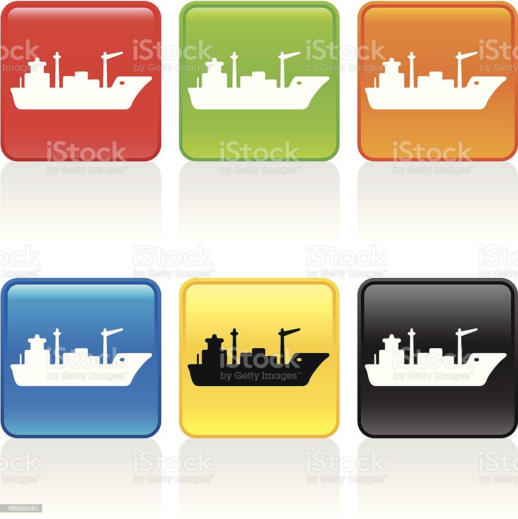 Cargo Ship Icon vector art illustration