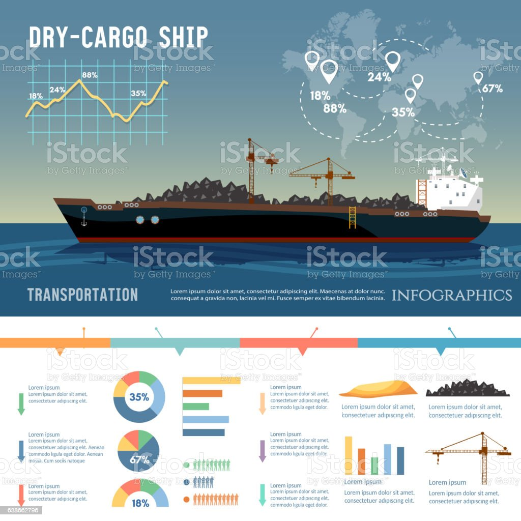 Cargo ship. Logistics and transportation vector art illustration