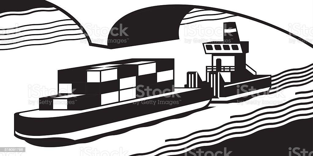 Cargo ship pass river vector art illustration