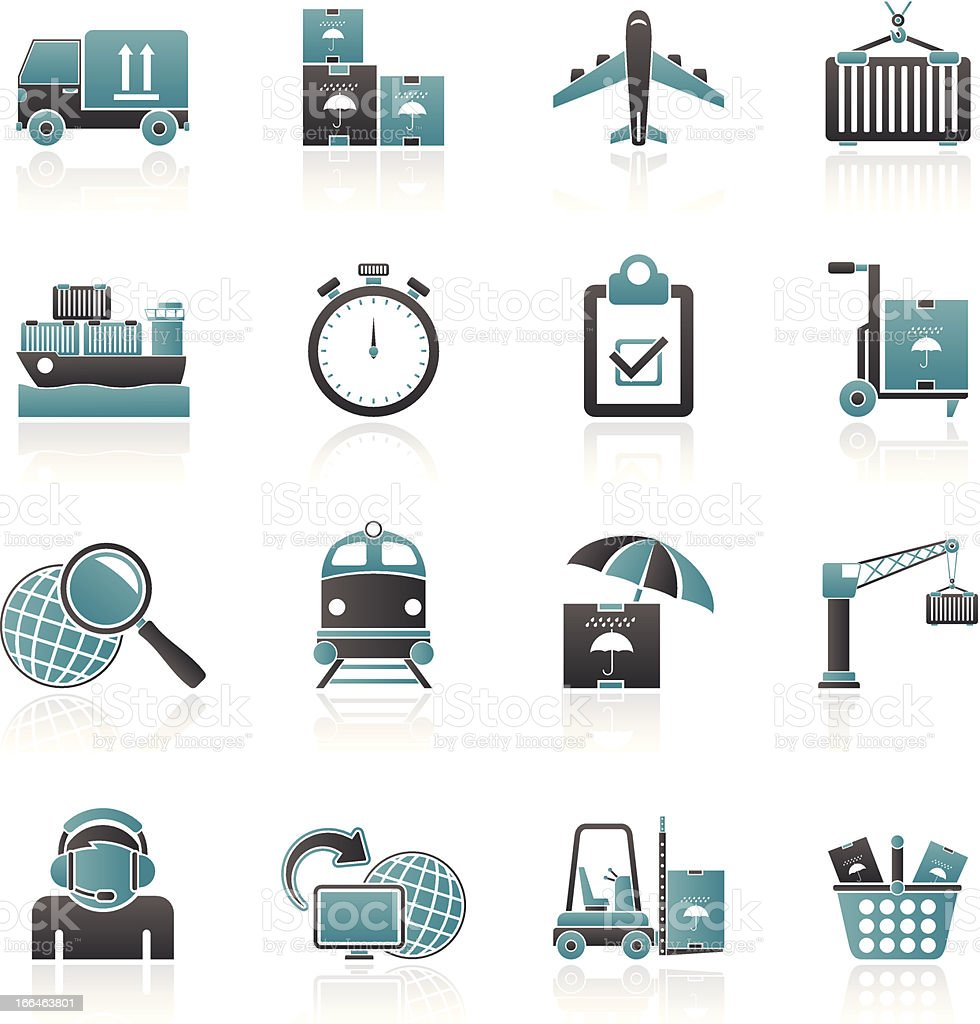 Cargo, shipping and logistic icons royalty-free stock vector art