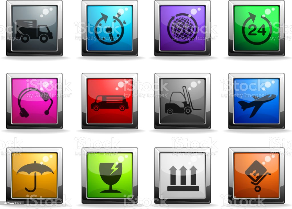 cargo shipping glass icons royalty-free stock vector art